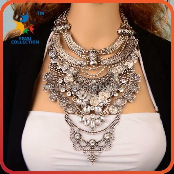 Yiwu Collection 3PCS MOQ wholesale chunky bubblegum fashion necklace full neck covering necklace design