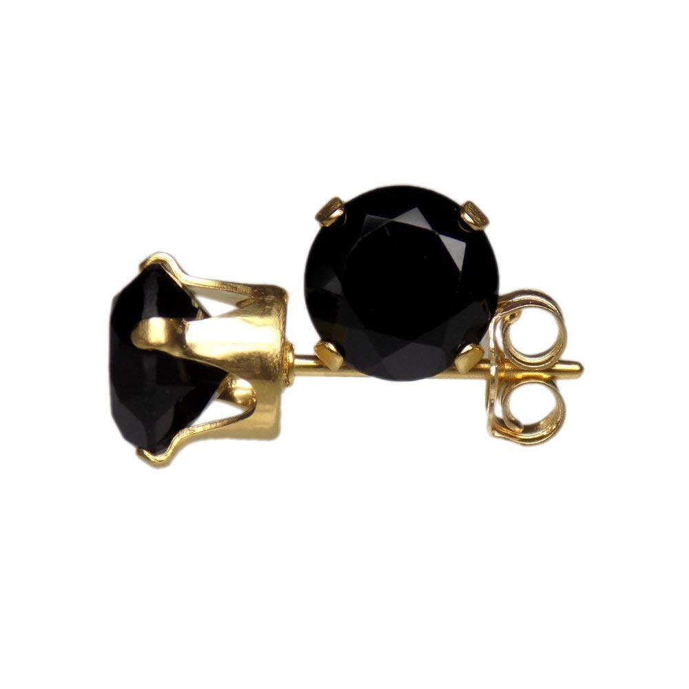 6mm Round Faceted Genuine Black Spinel Gemstone 14k Yellow Gold Filled GF Ear Stud Earrings Pair