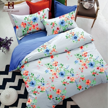 Chinese Picture Printed Duvet Cover Set Oriental Style Ink Flower Bedding