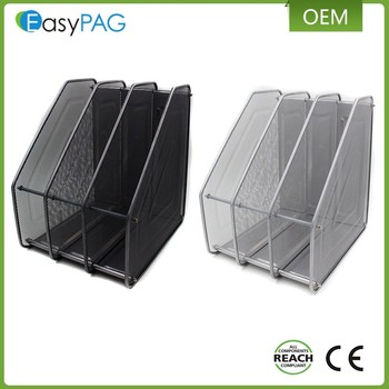 Easypag 3 Compartment Emble Metal Wire Mesh Desktop Office File Stands