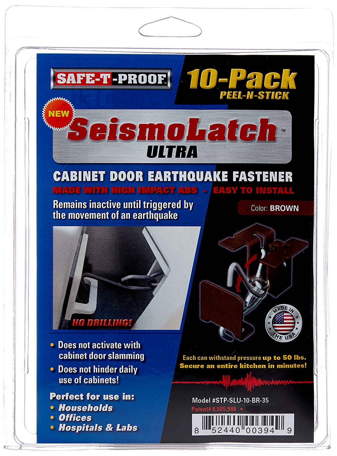 Safe-T-Proof STP-SLU-10-BR-35 New SeismoLatch Ultra Peel N' Stick Earthquake Activated Cabinet Latch (10 Pack), Brown