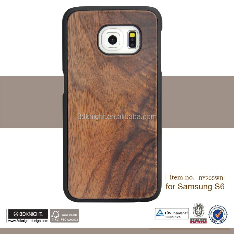 2016 New Arrival Original Wood Logs Case Blank Hard Back Wooden Cell Phone Case For Samsung S6 Case Bamboo Factory Price
