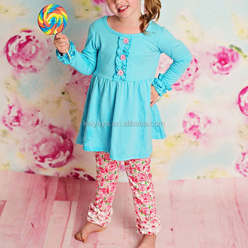 Icing Ruffle Long Sleeves American And European Style Button Details Baby Girl Suits Printed Baby Wear Cute Suits