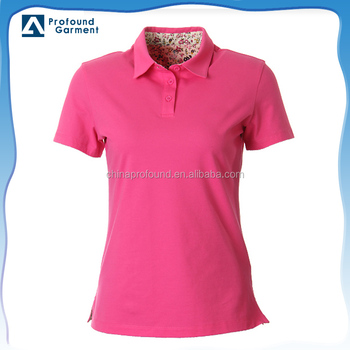 b8a525d33 Hot Pink Flower Fabric Lining Slim Fit Custom Women Polo Shirts ...