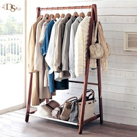 Eco-friendly Drying Clothes Free Stand Wooden Coat Custom Clothing Rack