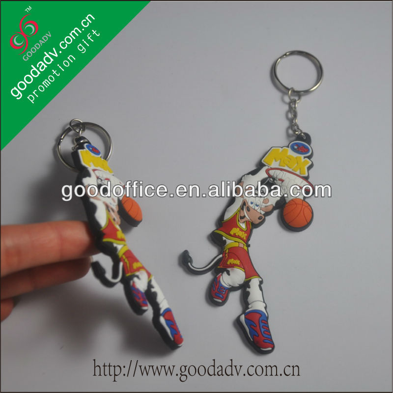 Car Promotion Gifts 3D Both Logo soft pvc keychain With Elastic rope