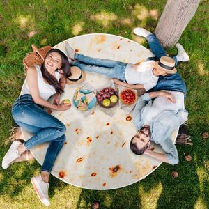 Round Beach Towel Mat Picnic Tapestry Soft Tortilla Burrito Blanket