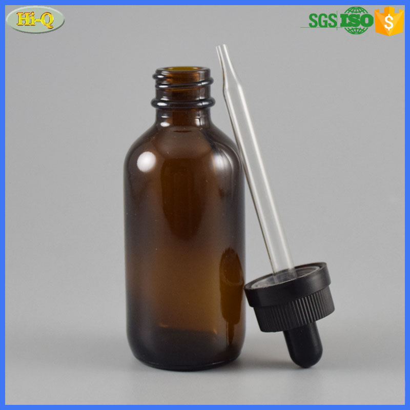 60ml essential oil bottle child proof cap 2oz boston round amber glass dropper bottle with pipette