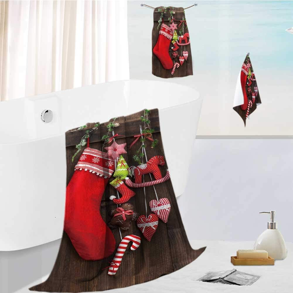 """Home Premium Bath Towel Set christmas decoration stocking and handmade toys over rustic wooden background Soft, Highly Absorbent, 19.7""""x19.7""""-13.8""""x27.6""""-31.5""""x63"""""""
