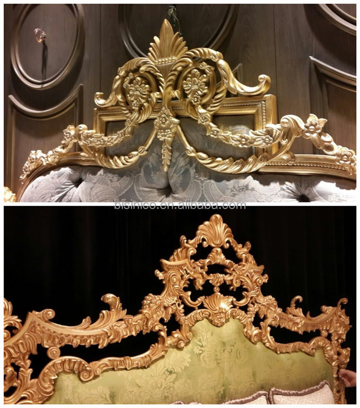British Baroque Style Carved Wooden Bed With Night Stand