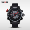 Alibaba Express Jewelry Quartz Stainless Steel Back Watch Weide WH3401 PU Band Wrist Watch