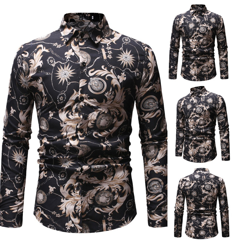 Men's Clothing Mens Retro Flower Shirts 2018 New Casual Breathable Shirt Fashion Geometric Pattern Social Print Long Sleeves Shirt#g4 Without Return Shirts