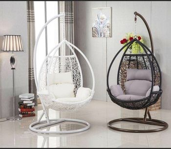 Indoor Outdoor Rattan Swing Chairs With Stand Black Hanging Wicker