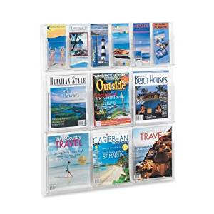 "Wholesale CASE of 2 - Safco Magazine/Pamphlet Plastic Display Rack-Magazine/Pamphlet Display,6 Pckt. each,30""x2""x34-3/4"",Clear"