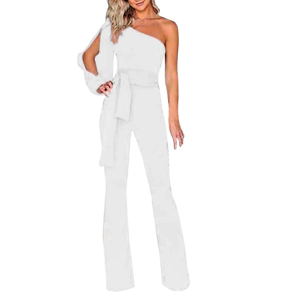 SCSAlgin blouse Women Solid Long Sleeve Cold Shoulder Jumpsuit Casual Clubwear Wide Leg Pants