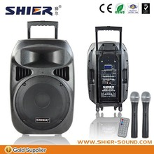 "12"" wireless pa system for pillar speaker with usb handle and wheels"