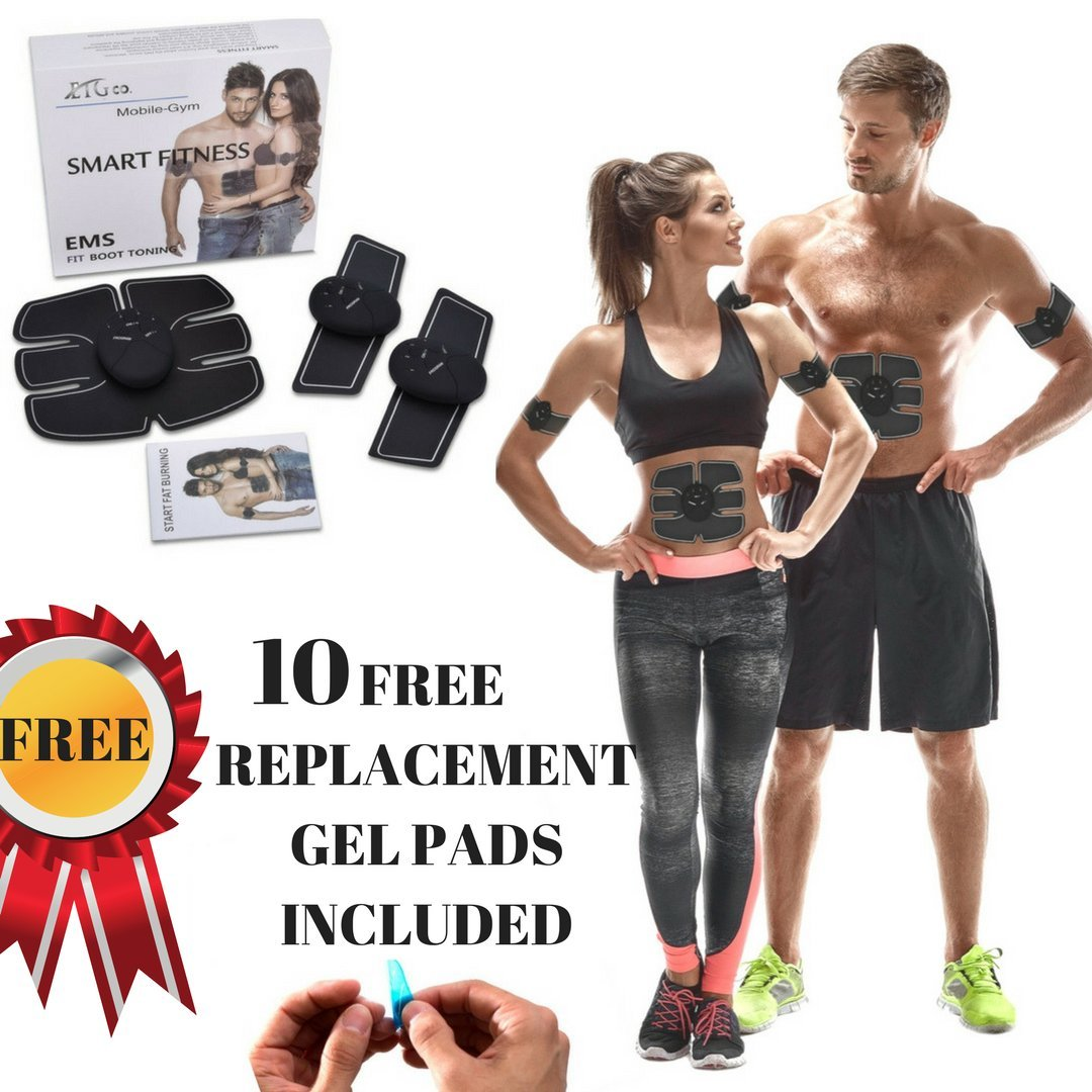 ABS STIMULATOR & MUSCLE TONER - Portable Muscle Toner, Abs Trainer, Toning Belt, Abdominal Pad, Ab Belt, Abdominal Pad Bioelectric Impulse (FREE EXTRA REPLACEMENT GEL PADS)