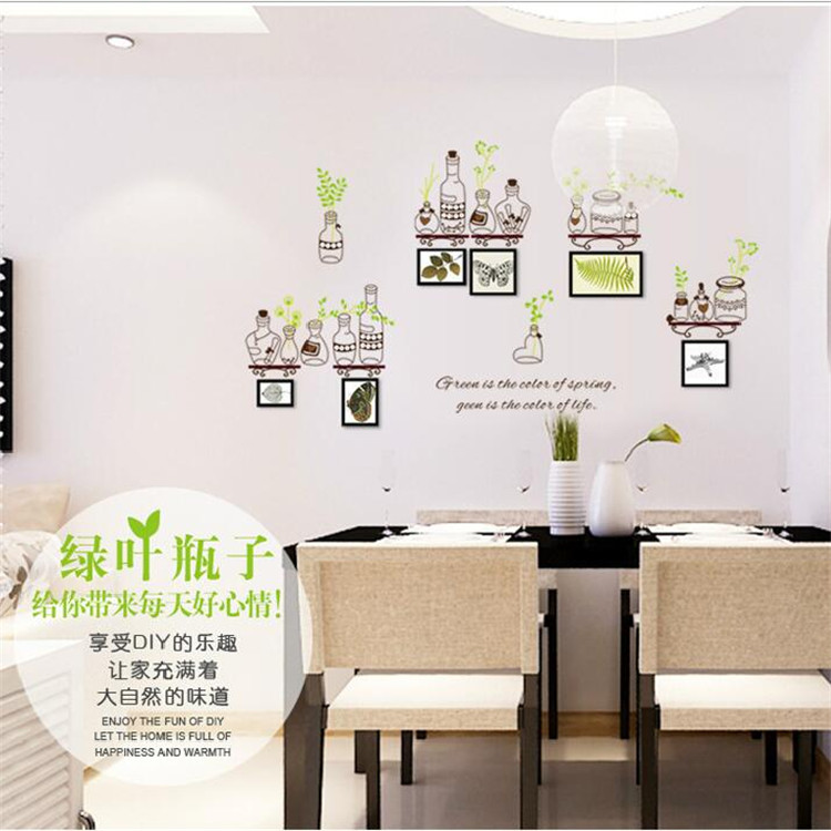 Green leaf bottle photo frame wall stickers living room bedroom decorations pvc waterproof self-adhesive wallpaper murals