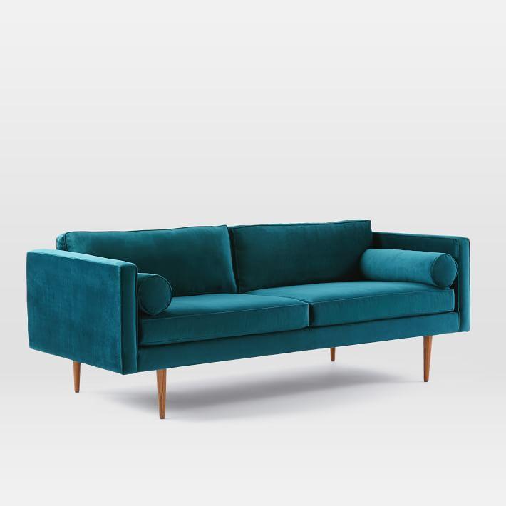 Mid Century Modern Furniture 3 Seater Velvet Sofa