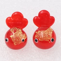 Handmade Murano Lampwork Miniature Tiny Gold Foil Fish Small Glass Goldfish Animal Figurines