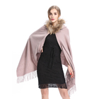 2019 Yiwu New Fashion 8 Colors Ladies And Women Wool Cashmere With Raccoon Fur Hooded Shawl