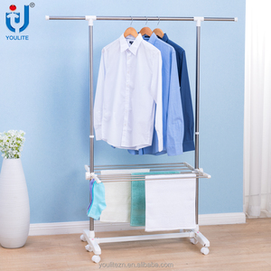 Multifunctional single-pole stainless steel clothes drying rack