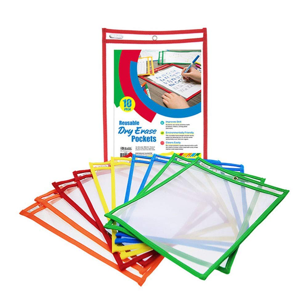 10 Pcs Reusable Laminate Folder Dry Erase Pockets 9 x 12 Inches Assorted Colors by Online Discounts Gifts