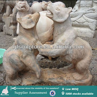 Red small marble bear statue