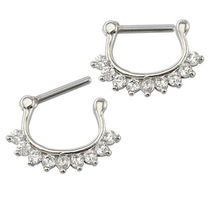 Gold Plated Septum Clicker,Real Septum Ring,Nipple Ring Body Piercing Jewelry with gems