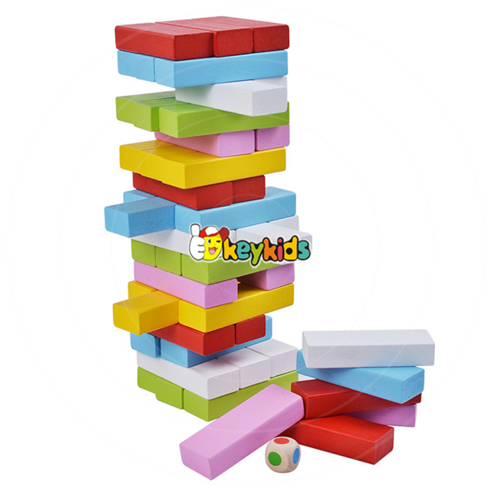 Wholesale 48 PCS colorful kids stacking wooden building blocks best design kids wooden building blocks for sale W13D151
