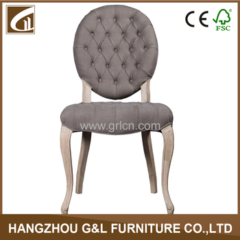 French Style Wooden Chair With Buttons Fabric Dining Room Furniture/round  Back Antique Dining Chair
