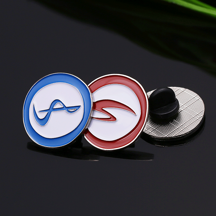 Customize zinc alloy metal silver soft enamel round lapel pin custom