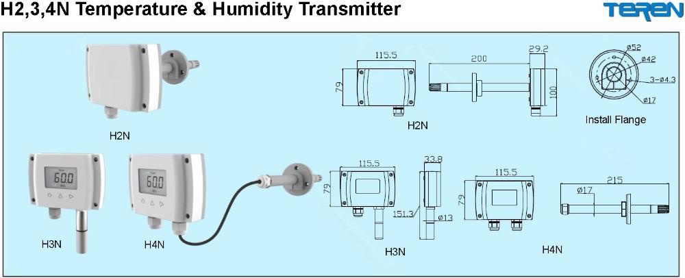 Digital analog humidity sensor 4-20ma 0-10V RS485 temperature ...