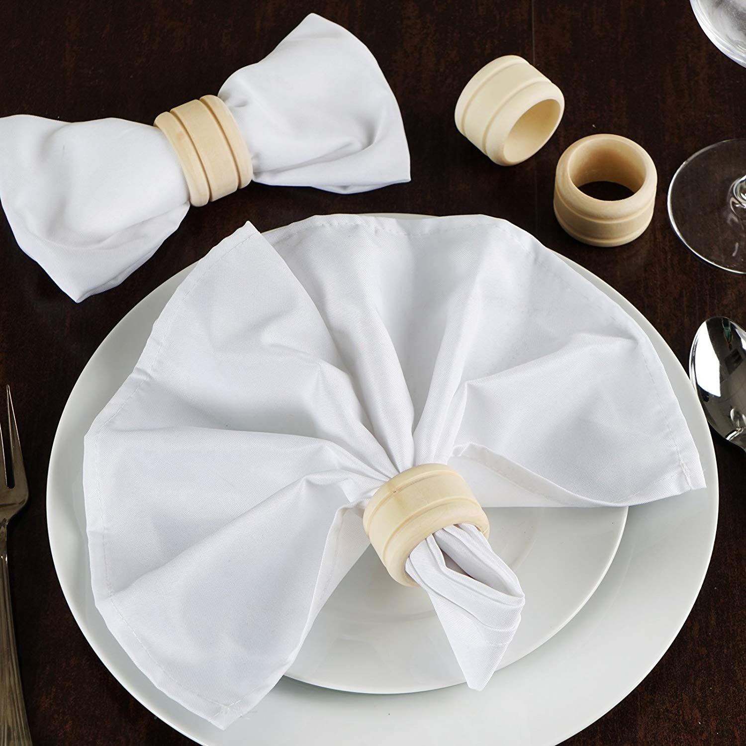 Tableclothsfactory 20 Pcs Sleek Natural Wooden Napkin Rings for Decoration
