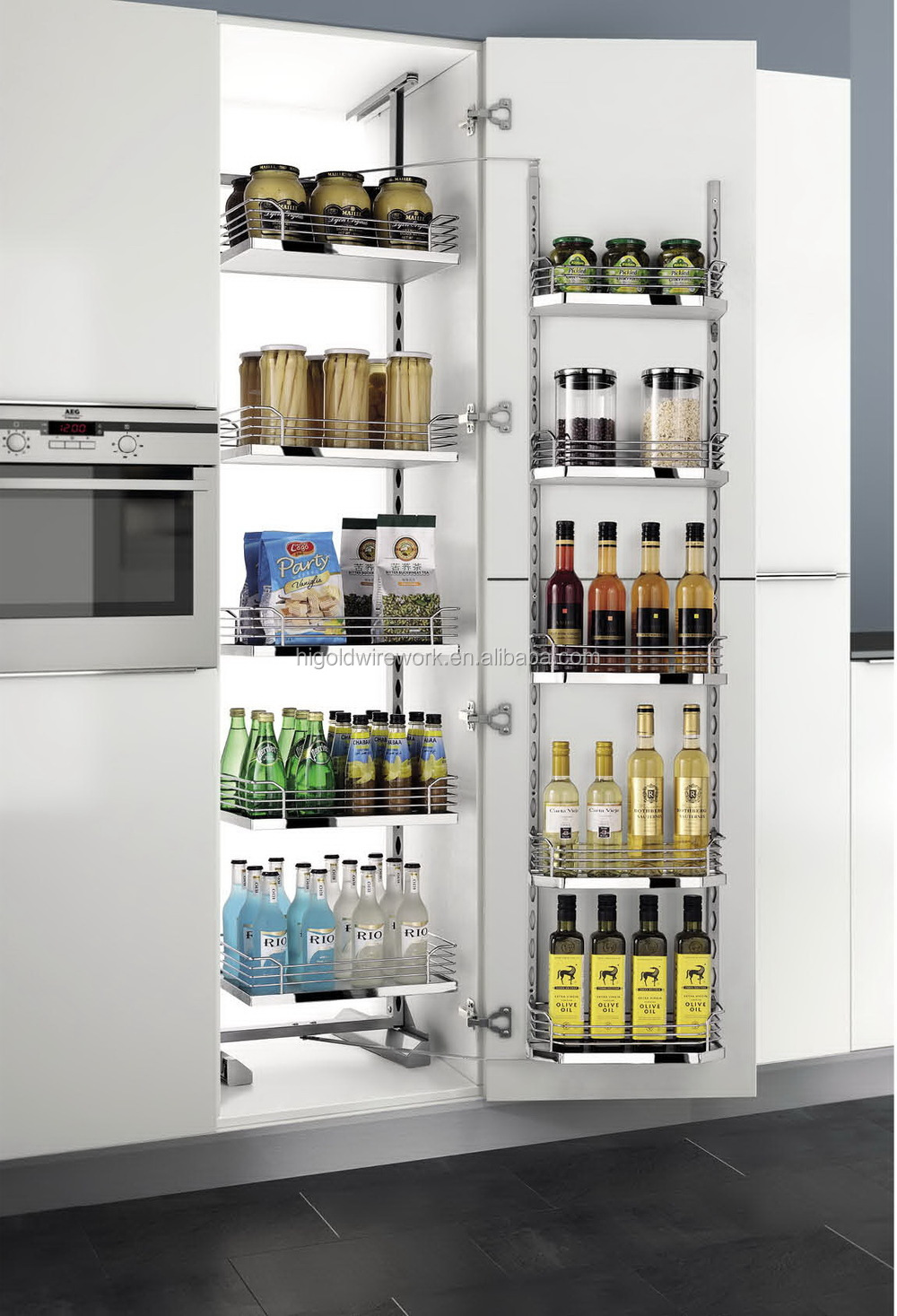 Tandem Pantry Unit kitchen Sliding Pull Out Storage baskets