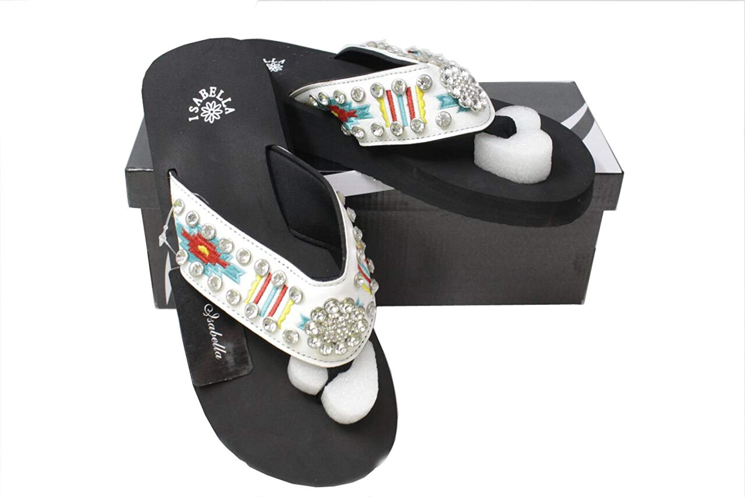 46dc20713b53b Get Quotations · Isabella Western Women Rhinestone Concho Bling Thin Sole Flip  Flops White Strap Slippers Sandals