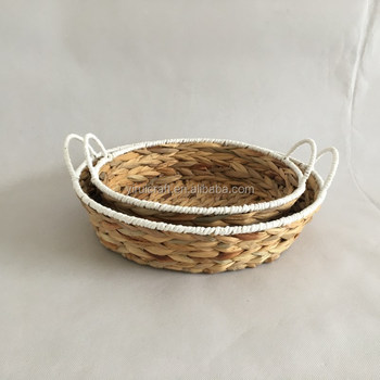 Water Hyacinth Grass Storage Basket Set Of 2 With Paper Rope With Ear  Handles