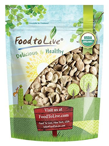 Organic Fava Beans by Food to Live (Broad Beans, Non-GMO, Kosher, Raw, Sproutable, Dried Vicia Faba, Bulk Seeds, Product of the USA) — 1 Pound