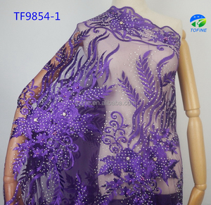 High quality beads embroidery french lace Nigeria tulle lace with stones