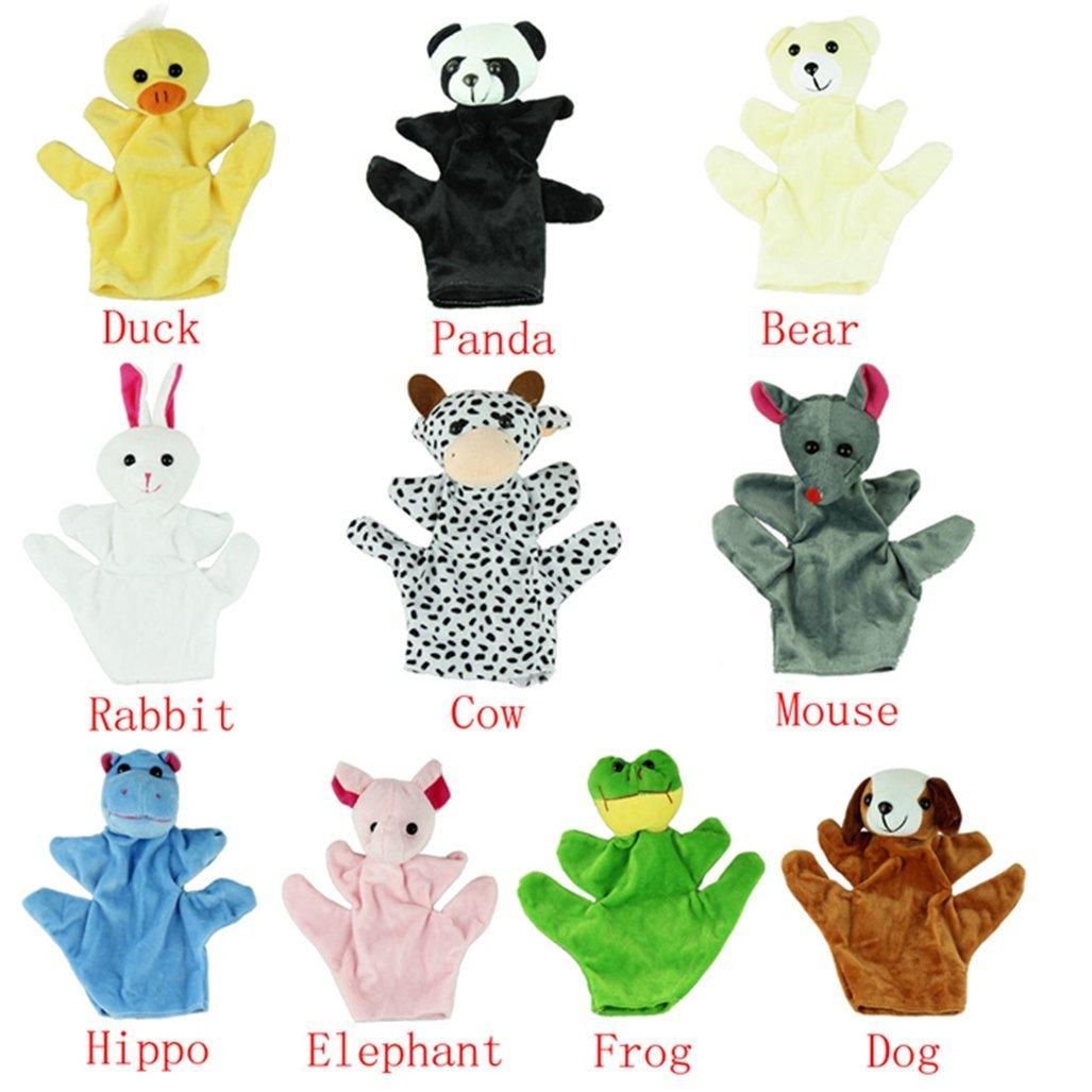 Dog CARESHINE 10PCS Animals Finger Puppet Toy Plush Toys Kids Toy Elephant Panda Bear Hippos Mouse Frog Duck Cow Rabbit
