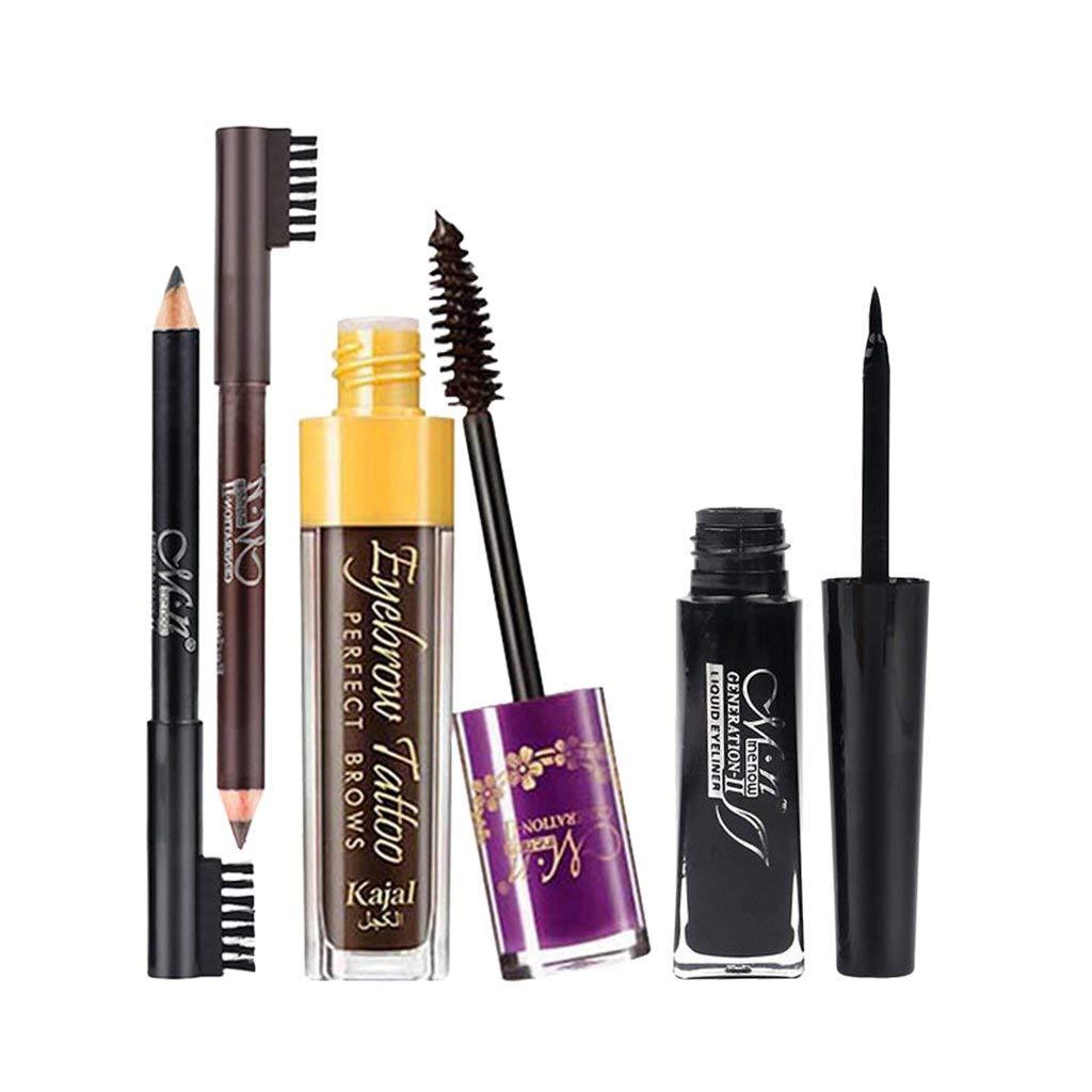 Dovewill 4 Pieces Black Brown Eye Brow Makeup Pencil with Brush Eyebrow Enhancer Tint Mascara Black Liquid Eyeliner Set - Black, as described