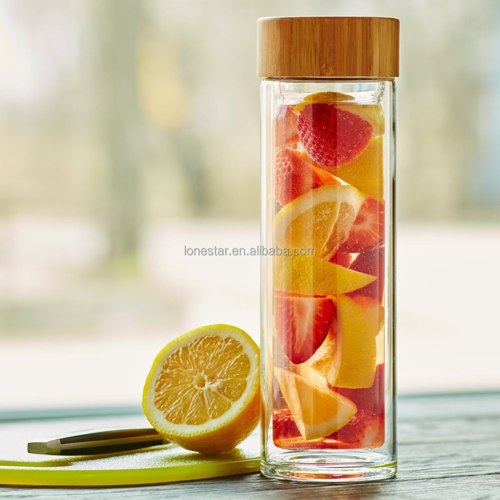 450ml/500ml Double Wall fruit infuser Glass Water Bottles Tea Infuser with stainless steel Tea Strainer and Bamboo Lid