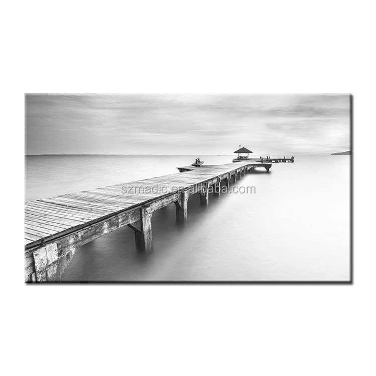 Modern Wall Art Home Decoration Oil Painting for Bedroom Printed Fabric Painting Designs Beautiful Trestle on the Sea Landscape