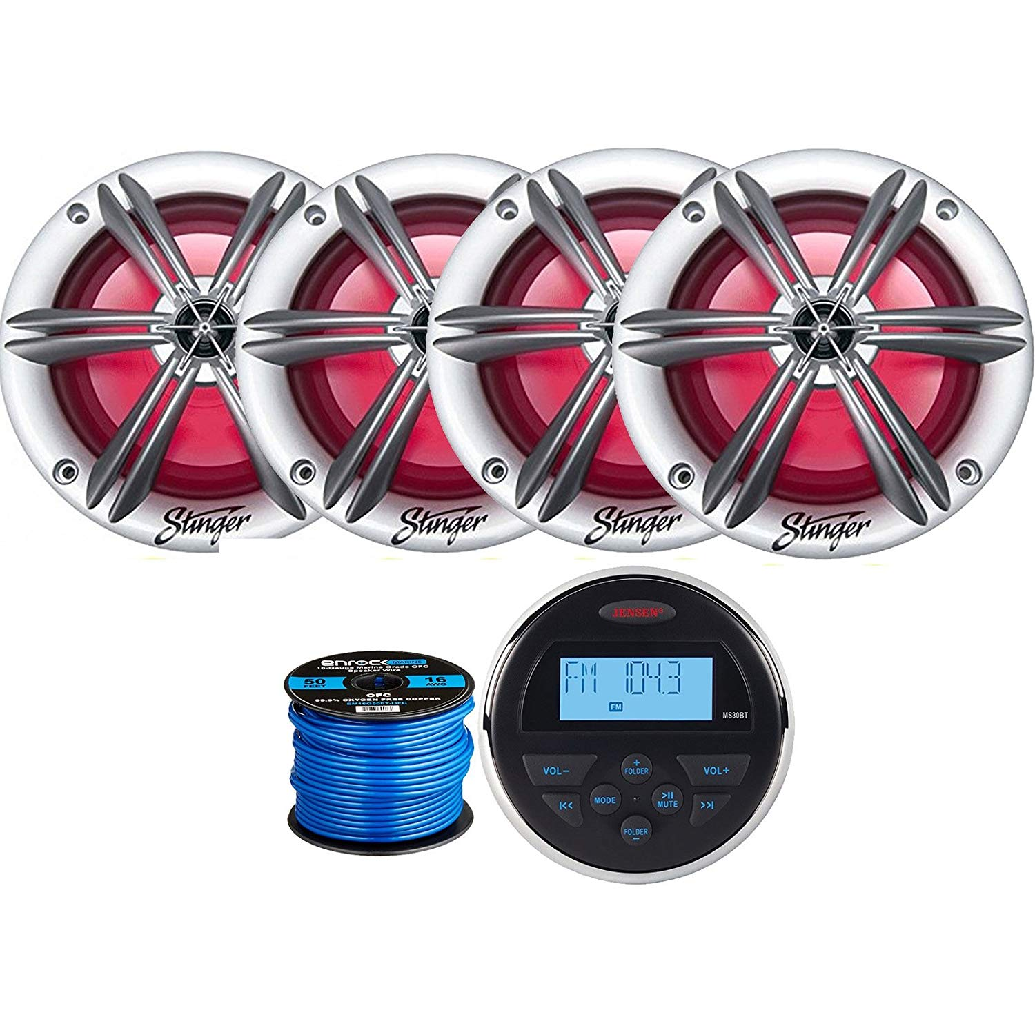 "Jensen MS-30BTR Mechless Compact Waterproof Stereo w/Bluetooth, 4 x Stinger PowerSports 6.5"" Marine Coaxial Speakers w/Multi-color RGB Lighting (Silver), Marine-Grade 50 Foot 16-Gauge Speaker Wire"