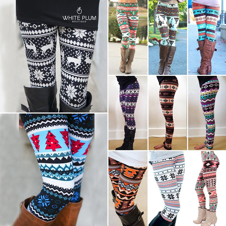 892788edae7b40 Hot Aztec Leggings Women Christmas Snowflake Leggins Pants Casual Printed  Leggins For Winter