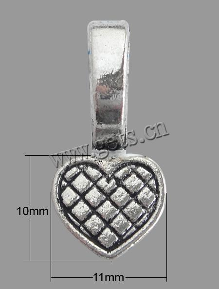 Zinc Alloy 11x10x1mm glue on bail heart