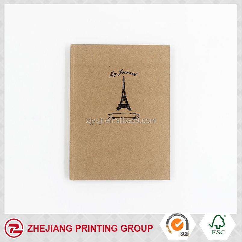 recycable A5 size kraft paper cover black hot stamping notebook