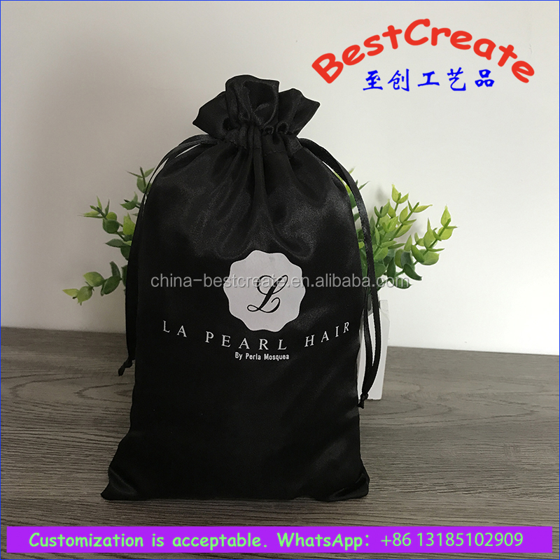Custom plum satin silk drawstring packaging bag for weaving hair