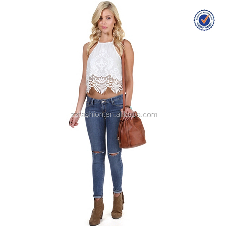 China Wholesale new design summer ladies white crochet halter top