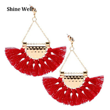 China supplier new products ladies fashion jewelry cheap fan shape tassel earrings